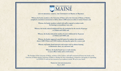 UMaine President's Cabinet Sentiment, Delivered to Faculty Senate May 6