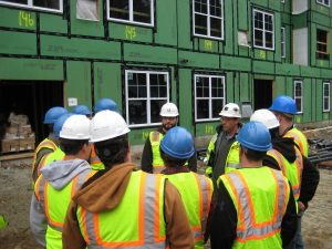 students on a construction tour