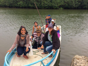 Christine Beitl on boat in Ecuador