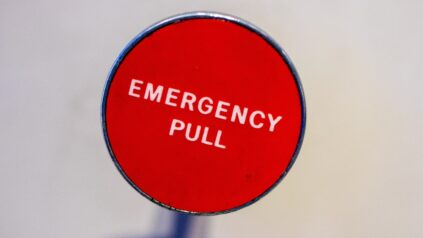 "ID red button with words ""emergency pull"" on it"
