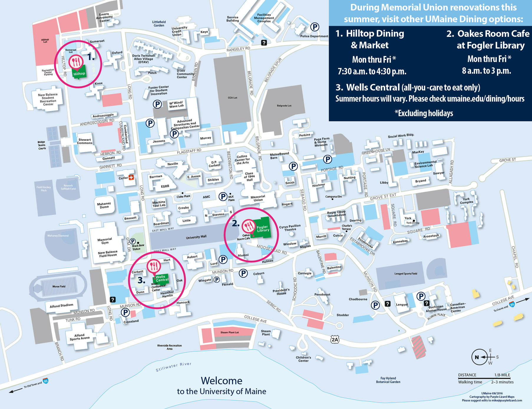 Map of summer dining options during Memorial Union renovation.