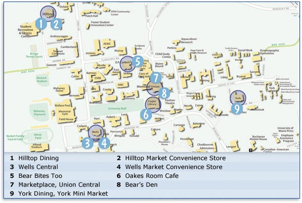 Dining Map University Of Maine Dining