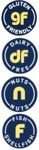 Allergen icons for gluten friendly, dairy-free, nuts-free, dairy-free, nuts, fish or shellfish