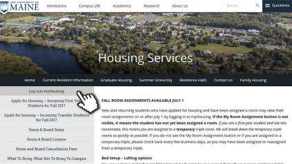 Screenshot to show students where to find myHousing link on Housing website