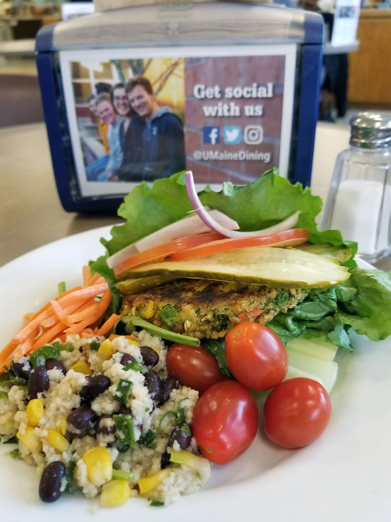 Veggie burger with black bean salad, nutrition resources
