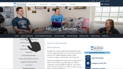log in to myHousing - photo of Housing website with mouse pointing at Log in to myHousing link
