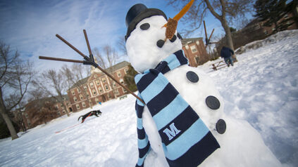 snowman in UMaine scarf