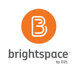 White B in an orange circle with the words under it: brightspace by D2L