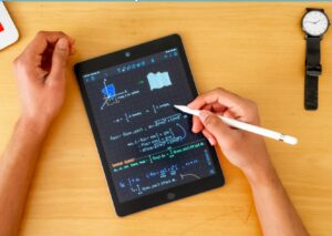 tablet with math equations on it