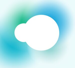 two white overlapping circles of different sizes: Silvercloud Logo