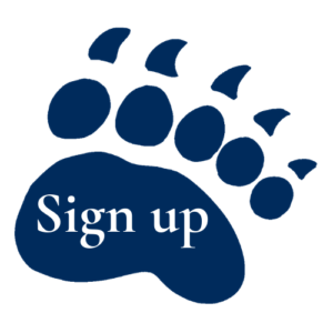 UMaine Bear paw with the words Sign up across it