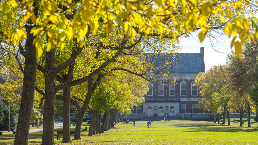 Distanced photo of fogler library with fall trees