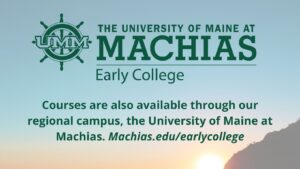 image of Machias logo with a sunset background