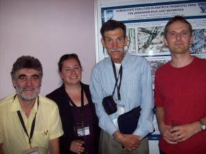 Eva Wadoski and I flanked by Milan Novák (left) and Jan Cempírek (right) at the Granulites & Granulites 2009 conference in the Hrubá Skála chateau, Czech Republic, July 14, 2009