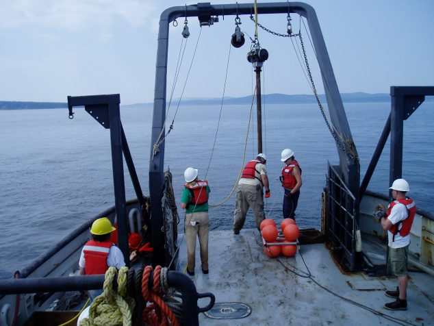 ocean sediment core collection from a ship