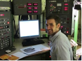 JohnRyan MacGregor analyzing boron isotopes on the ion microprobe at the University of Edinburgh, Scotland in 2011.