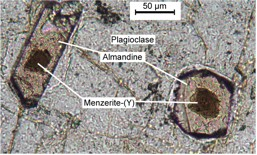 Photomicrograph of two garnets: euhedral almandine crystals cored by dark-brown menzerite-(Y). Matrix is plagioclase. Plane polarized light.
