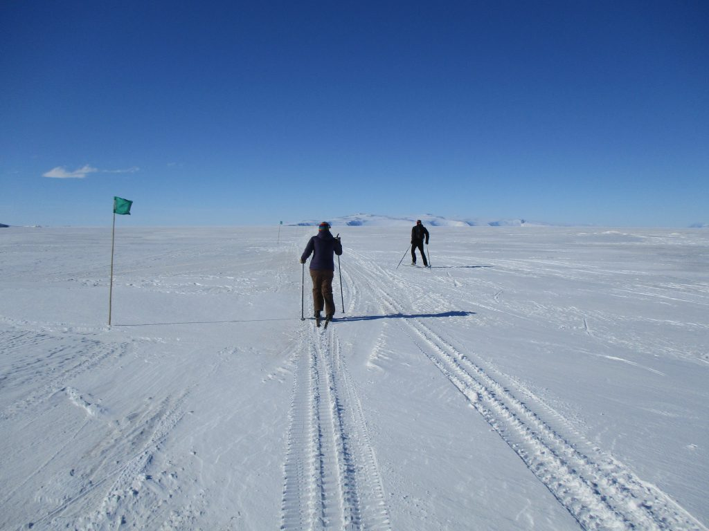 Cross-country skiing out on the McMurdo Ice Shelf