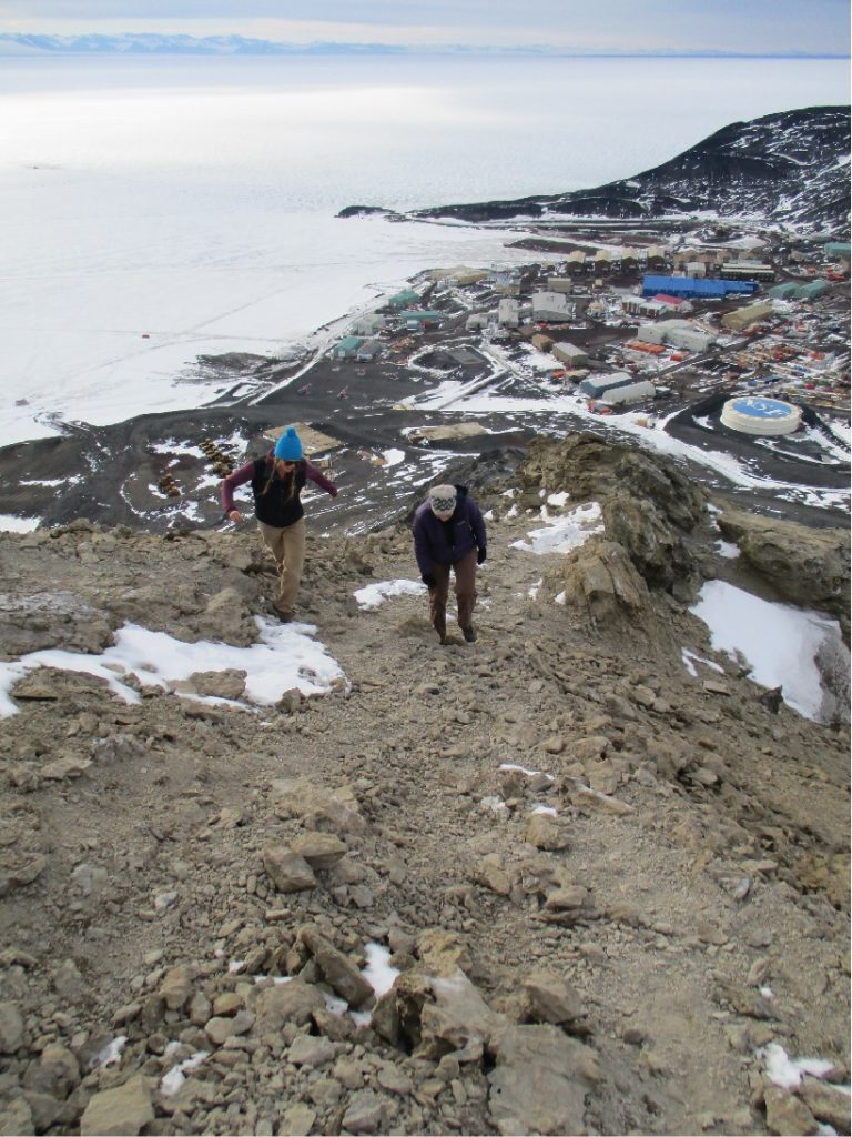 The hike up to Observation Point with McMurdo Station in the background