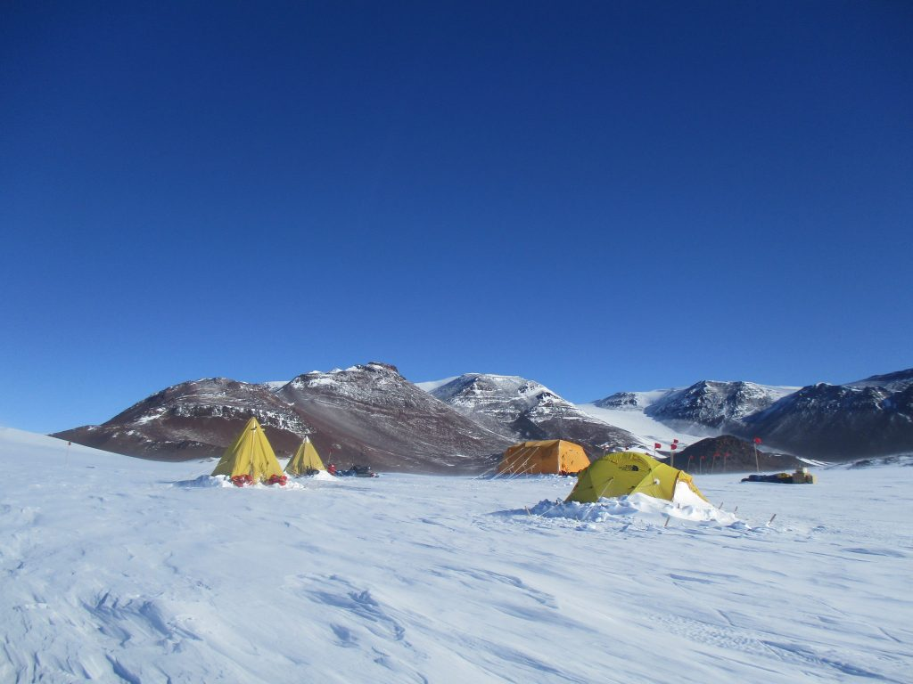 Tents set up at the camp on Shackleton Glacier.