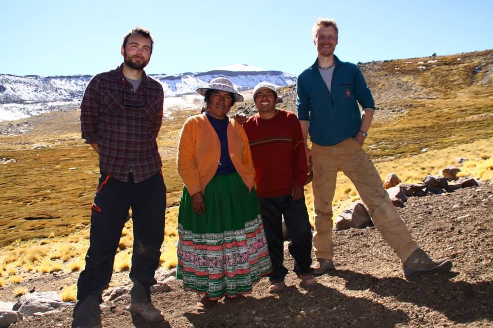 Scott Braddock (far left) and Gordon Bromley (far right) at field site. Center are a very generous local family who provided a delicious breakfast each morning.