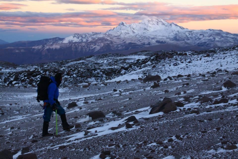 Scott Braddock catching the sunrise on an early morning climb. Photo by Gordon Bromley.