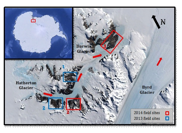 Figure 1: The Hatherton Darwin outlet glacier system is located just north of Byrd Glacier, the largest outlet glacier that drains into the Ross embayment. During the LGM, the two systems likely behaved coevally and therefore by studying the Hatherton Darwin glacier system, we can indirectly study the largest outlet glacier flowing from East Antarctica into the Ross Sea. Boxed above in red are the two sites we visited this year: (1) Diamond Hill and (2) Magnis Valley. The two regions boxed in blue indicate last year's field sites: (1) Lake Wellman and (2) (upper Hatherton Glacier) Dubris Valley, Danum Platform and Bibra Valley. In general, East Antarctica is located to the left of this image. Red arrows indicate the glaciers' flow direction.