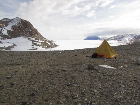 Figure 4: Our campsite at Diamond Hill had a great view of Diamond Glacier (seen in the background). We spent two weeks at this site before moving to Magnis Valley for the remainder of our season.