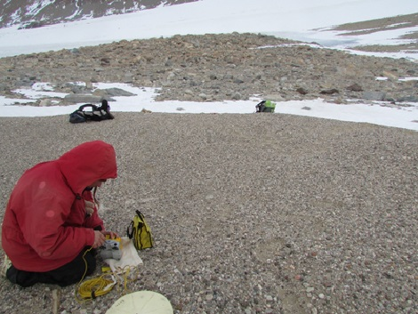 Figure 7: For more precise measurements, we brought a Trimble GPS unit, provided by UNAVCO, into the field to collect coordinates of our fossil algae samples, such as the deltaic deposit pictured above.