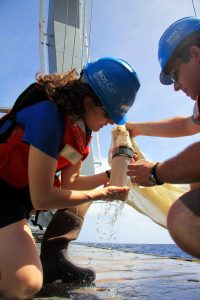 Collecting plankton with a fine-mesh net in the North Atlantic.
