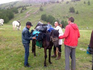 Mongolian herders help Aaron Putnam pack horses
