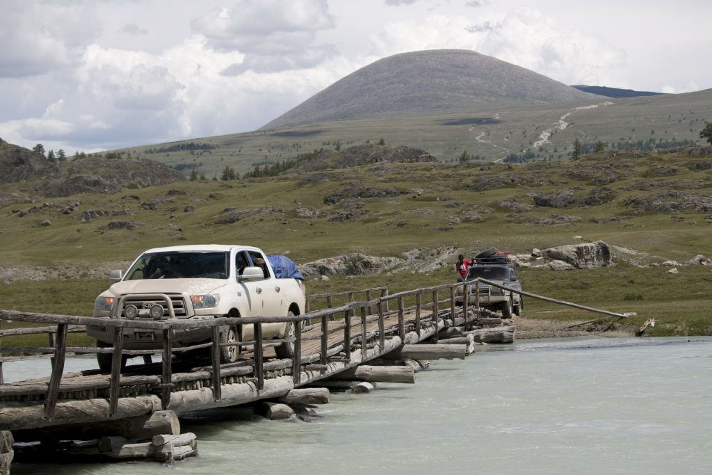 Crossing the White River in western Mongolia