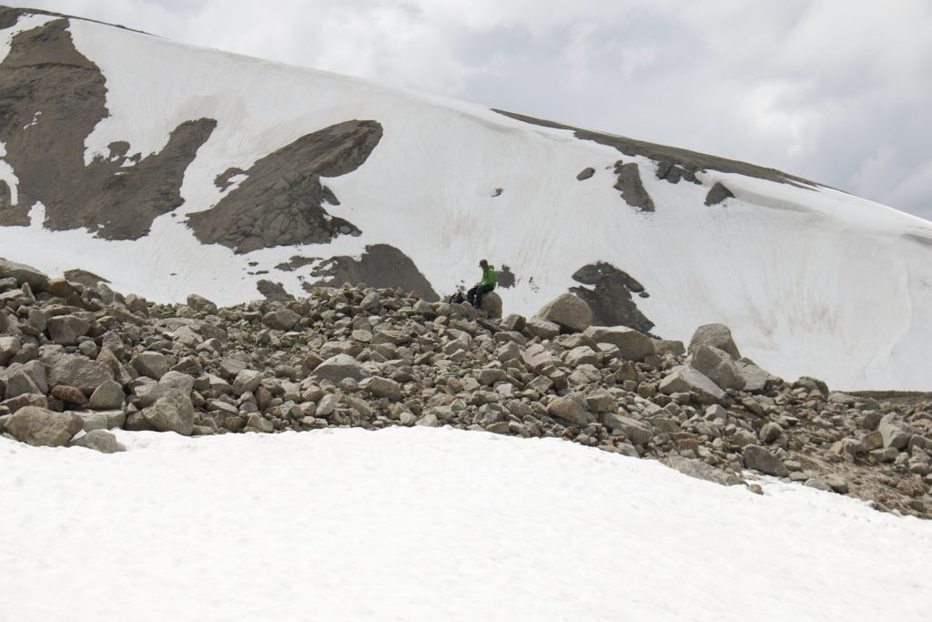 A Moraine ridge in the high peaks of the Altai