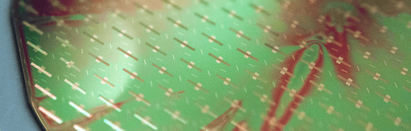 Close up of silicon wafer in the Laboratory for Surface Science and technology (LASST) clean room
