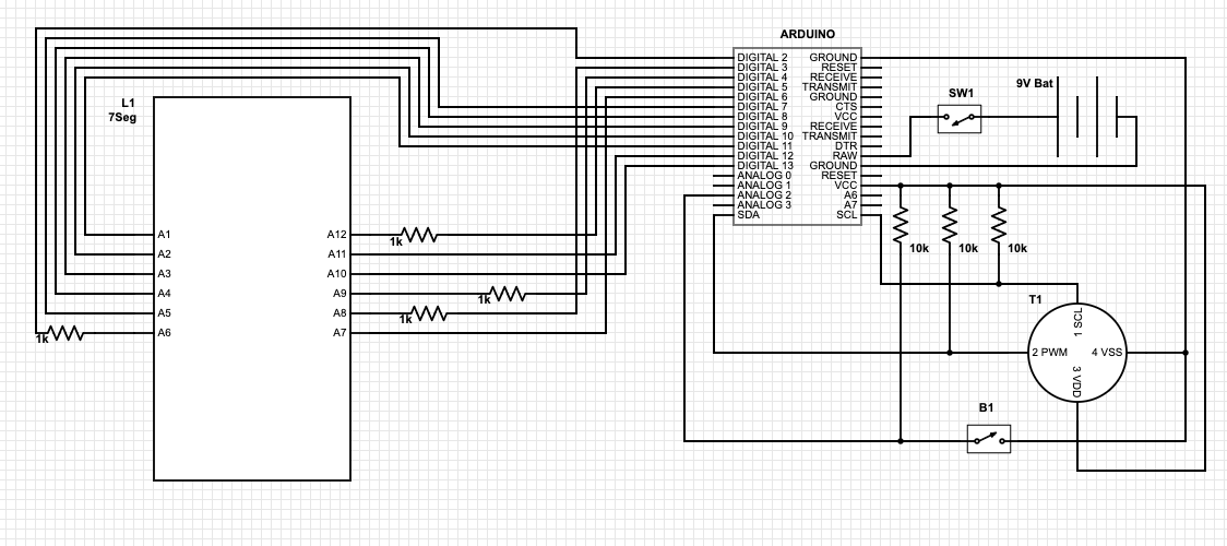 Arduino schematic for infrared thermometer