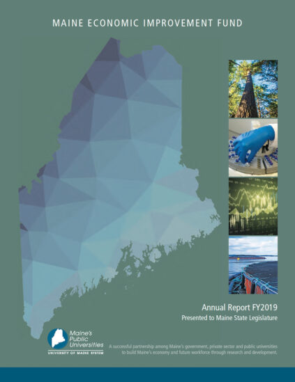 Image of FY2019 MEIF report cover stylized map of Maine