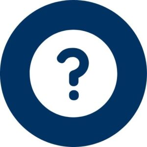 Blue question mark inside blue circle on white background
