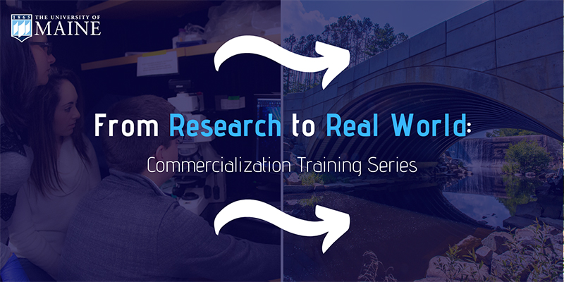 A flyer featuring text over indistinct images that reads: from research to real world commercialization training series