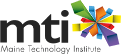 Logo for the Maine Technology Institute: black letters MTI over the words Maine Technology Institute next to a colorful design of green, blue, orange, yellow, purple and red bars arranged in a starburst-like design.