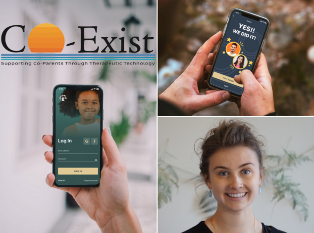 Three-image collage showing hands holding smartphones and a young woman in a black blouse.