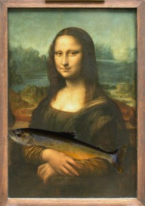 The Mona Lisa holding a Maine Arctic Charr