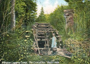 "Colored postcard ""A Maine Logging Camp. The Cook of the Bean hole"""