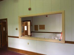 Viewing window for media studio.