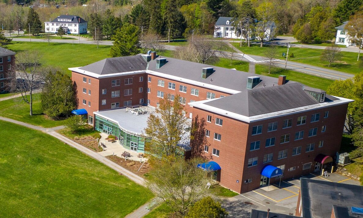 aerial shot of stodder hall and chadbourne hall