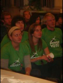 green team in audience