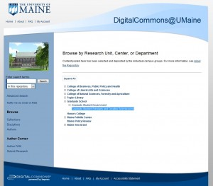 Screen shot of Digital Commons