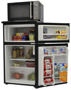 Microchill Microwave/Freezer/Refrigerator Combo Unit with door open