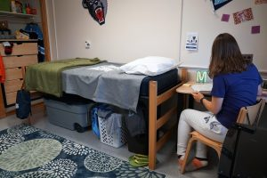 Housing residence life student with mid loft bed