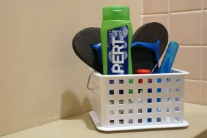 What to bring to campus: Shower caddy with toiletry items and shower shoes (flip flops)