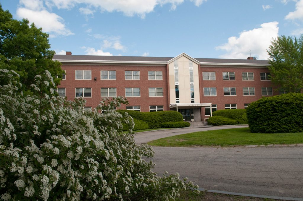 exterior view of Stodder Hall at University of Maine, residence hall with brick exterior